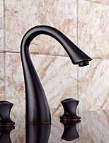 Modern Widespread Widespread / Pre Rinse with  Ceramic Valve Two Handles One Hole for  Antique Copper  Bathroom