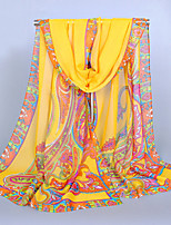 Women's Chiffon India Totem Print Scarf Khaki/Green/Blue/Pink/Amy Green/Yellow