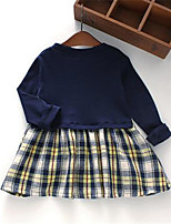 Girl's Casual/Daily Patchwork DressCotton Spring / Fall Blue / White