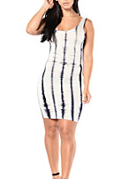 Women's Going out / Party/Cocktail / Club Sexy / Simple Bodycon DressPrint U Neck Midi Sleeveless Gray Polyester Summer