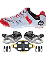 SD003 Cycling Shoes Unisex Outdoor / Road Bike Sneakers Damping / Cushioning Red/White-sidebike And R540 Rock Pedals