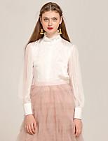 YIGELILA Damen Ständer Lange Ärmel Shirt & Bluse Weiß-7390