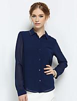 ZEBRA® DESNUDA Mujer Cuello Camisero Manga Larga Camisa y blusa Negro / Blanco / Azul Oscuro-QT7377