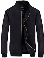 Men's Long Sleeve Casual / Work / Formal JacketPolyester / Spandex Solid Black / Blue / Brown / Red / Gray