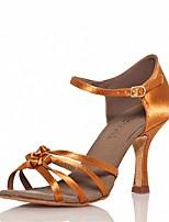 Customizable Women's Dance Shoes Satin  Latin / Salsa Sandals / Heels Customized Heel Indoor / Performance Brown