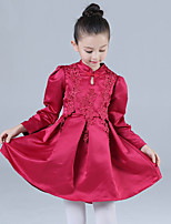 Girl's Casual/Daily Solid DressCotton / Polyester Winter / Fall Pink / Red
