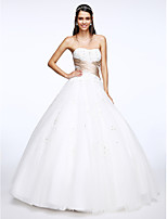 Lanting Bride® A-line Wedding Dress Floor-length Sweetheart Tulle with Criss-Cross / Appliques