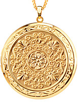 Trendy Romantic circular Pendant 18K Gold Plated Fashion European vintage Jewelry Women Gift Necklaces Pendants p30044
