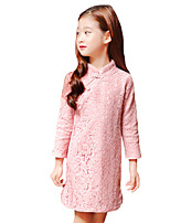 Girl's Casual/Daily Solid DressCotton Summer Green / Pink / Red