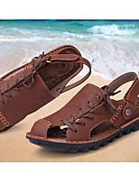 Men's Sandals Summer Sandals / Flats Cowhide Outdoor Flat Heel Lace-up Tan / Khaki Others