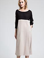 BORME Women's Round Neck 3/4 Length Sleeve Tea-length Dress-Y047