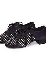 Non Customizable Women's Dance Shoes Satin Satin Latin Heels Chunky Heel Performance Black / Blue / Brown / Red