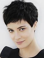 onduladas cortas pelucas de cabello natural humano para la mujer