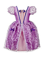 Girl's Party/Cocktail Print DressCotton / Polyester Summer Purple