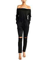 Women's Solid Red / Black JumpsuitsVintage Off Shoulder Long Sleeve