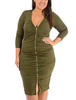 Women's Plus Size / Casual/Daily Vintage Bodycon DressSolid V Neck Knee-length Long Sleeve Green Polyester