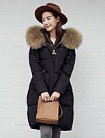 Women's Solid Black / Gray Padded CoatStreet chic Hooded Long Sleeve