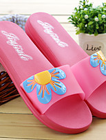 Women's Slippers & Flip-Flops Summer Scuff PVC Casual Flat Heel Flower Blue / Pink / Red Others