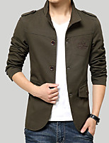 Men's Long Sleeve Casual / Work Jacket Coat Cotton / Polyester Solid Regular Single Breasted Outerwear