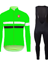 KEIYUEM fluo green Autumn Long Sleeve Cycling JerseyLong Bib Tights Ropa Ciclismo Cycling Clothing Suits #L116
