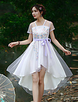 Our Story Going out Vintage Sheath DressEmbroidered V Neck Knee-length Short Sleeve White Polyester Summer