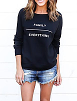 Women's Casual/Daily Vintage Regular HoodiesLetter Black Round Neck Long Sleeve Polyester All Seasons