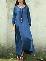 Cynthia Women's Casual/Daily Vintage Loose DressSolid V Neck Maxi  Sleeve Blue