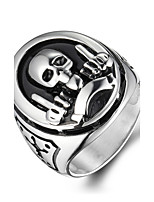 Men's Fashion 316L Titanium Steel Vintage Personality Skull Engraved Statement Rings Casual/Daily 1pc Christmas Gifts