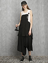 Rizhuo Women's Casual/Daily Simple Summer Tank TopPatchwork Round Neck Sleeveless Black Rayon / Polyester Thin