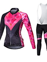 Sports Cycling Jersey with Bib Tights Women's Long Sleeve BikeBreathable / Quick Dry / Front Zipper / Wearable / High Breathability