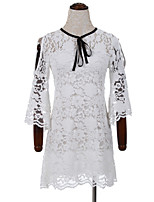 Women's Casual/Daily Cute Sheath DressSolid Round Neck Above Knee  Sleeve White Cotton Fall High Rise Inelastic Thin