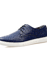 Men's Flats Spring / Fall Comfort Microfibre Casual Flat Heel Lace-up Black / Blue / Red Walking