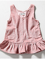 Girl's Casual/Daily Striped DressCotton Spring / Fall Pink / Gray