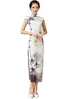 One-Piece Short Sleeve Long Length Gray Lolita Dress Polyester Cheongsam