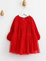Girl's Casual/Daily Solid DressCotton Spring / Fall Blue / Red