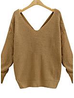 Damen Standard Pullover-Lässig/Alltäglich Sexy Street Schick Solide Weiß Schwarz Grau Gelb V-Ausschnitt Langarm Acryl Herbst Winter Mittel
