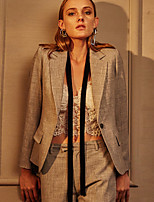 c + Frauenarbeit einfach alle Jahreszeiten blazersolid fallendem Revers lange Ärmel grau Polyester Medium beeindrucken