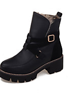Women's Boots Winter Round Toe / Flats Leatherette Casual Flat Heel Others Black / Brown / Gray Walking