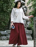 Chemise Femme,Couleur Pleine Décontracté / Quotidien Vintage Automne / Hiver Manches Longues Col Arrondi Blanc Coton Epais