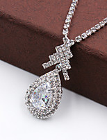 Fashion High-End Water Drop Rhinestone Necklace Set