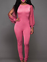 Women's Solid Pink / Black JumpsuitsSexy / Simple Round Neck Long Sleeve