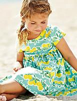 Girl's Casual/Daily Print DressCotton Summer Green