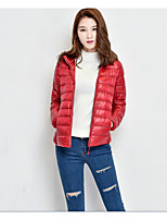 Women's Regular CoatSimple Casual/Daily Solid-Cotton / Polyester Cotton Long Sleeve Hooded Black