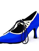 Chaussures de danse(Bleu) -Personnalisables-Talon Personnalisé-Satin-Latine / Moderne