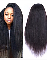Coarse Italian Yaki Wig Brazilian Virgin Natural Color Kinky Straight Lace Front Human Hair Wigs For Black Women