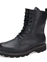 Men's Boots Fall / Winter Comfort Cowhide Casual Flat Heel  Black Sneaker