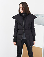 C+IMPRESS Women's Solid Black Down CoatSimple Stand Long Sleeve