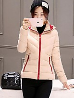 Women's Solid Pink / Red / Black / Yellow Padded CoatStreet chic Hooded Long Sleeve