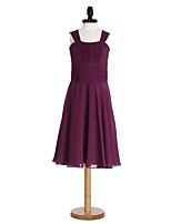 Lanting Bride® Knee-length Chiffon Junior Bridesmaid Dress A-line Straps with Draping / Sash / Ribbon / Ruching