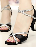 Customizable Women's Dance Shoes Satin Latin / Salsa Sandals / Heels Customized Heel Indoor / Performance Silver / Gold